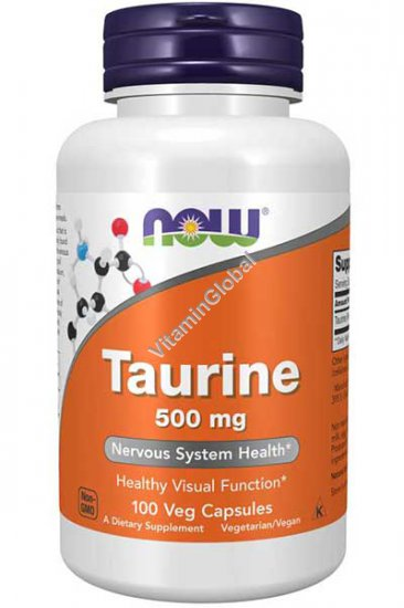 Taurine 500 mg, Nervous System Health, 100 Veg Capsules - Now Foods
