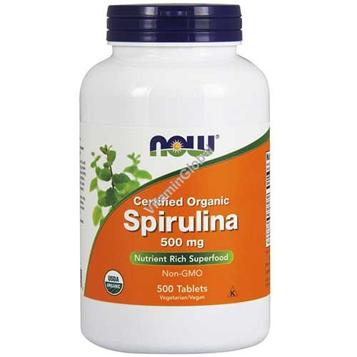 Organic Spirulina 500 mg 500 tablets - NOW Foods