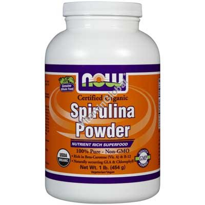Organic Pure Spirulina Powder 1 lb (454 g) - Now Foods