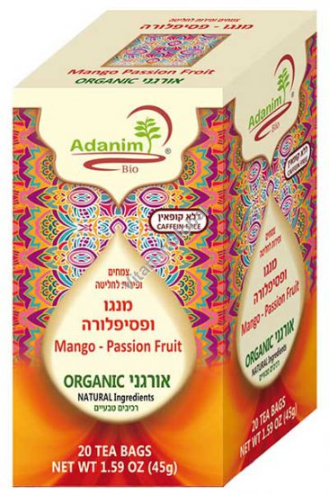 Organic Mango & Passion Fruit Tea 20 Tea Bags - Adanim
