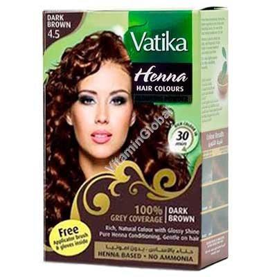 Henna Hair Colours Dark Brown 60g (6 sachets of 10g each) - Vatika