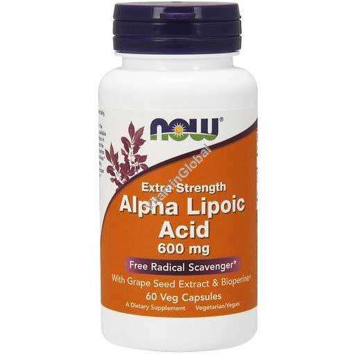 Extra Strength Alpha Lipoic Acid 600 mg 60 Veg Capsules - Now Foods