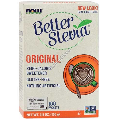 Better Stevia Powder 100 packets - NOW Foods