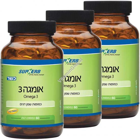 Kosher Omega-3 180 (3 X 60) Softgels - SupHerb