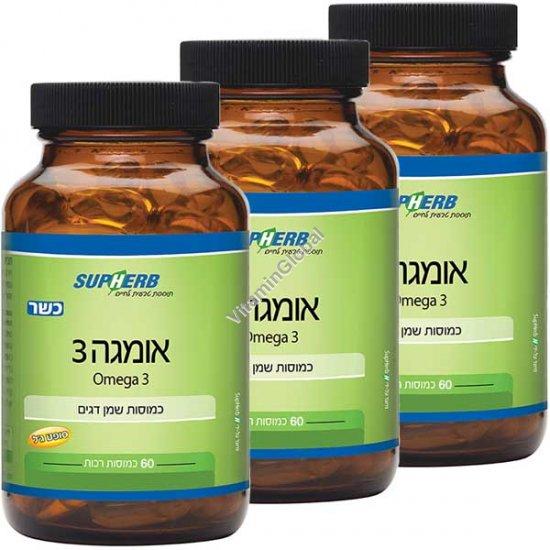 Kosher Omega-3 180 (3 X 60) Softgels - SupHerb