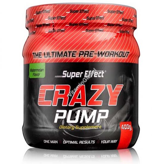 Crazy Pump Kosher Pre-workout Watermelon Flavor 400g - Super Effect