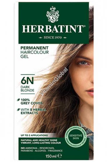 Permanent Herbal Haircolor Gel Dark Blonde 6N - Herbatint