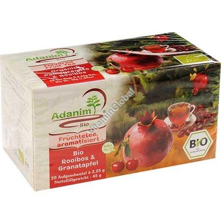 Organic Pomegranate & Rooibos Tea 20 tea bags - Adanim