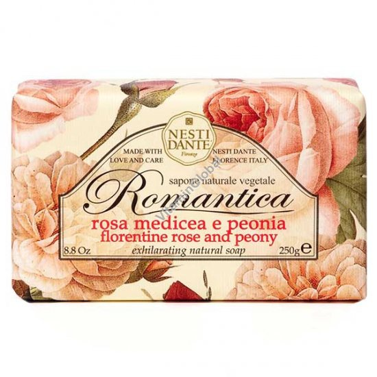 Romantica Florentine Rose and Peony Natural Soap Bar 250g - Nesti Dante