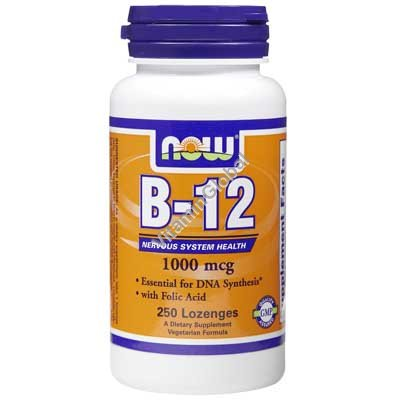 B-12 1000 mcg with Folic Acid 250 Lozenges - NOW Foods