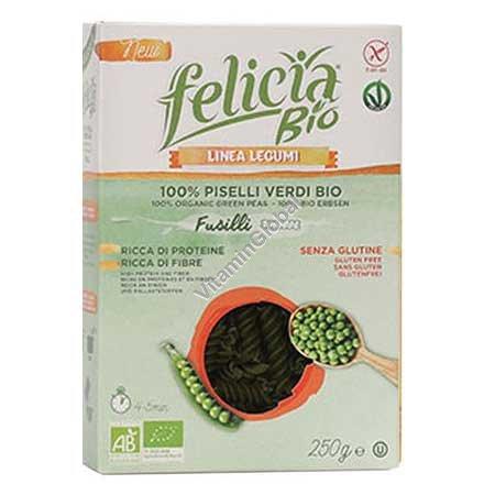 Gluten Free, Organic Green Pea Fusilli Pasta 250g - Felicia Bio