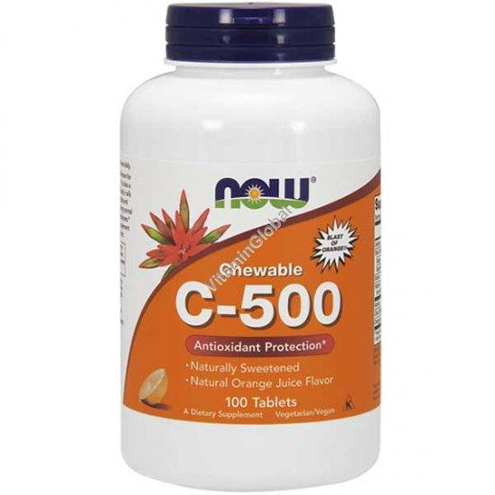 Vitamin C-500 Orange Chewable 100 Lozenges - Now Foods