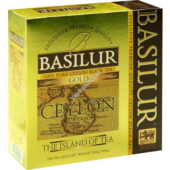 "Premium Pure Ceylon Black Tea Gold ""The Island of Tea"" 100 tea bags - Basilur"