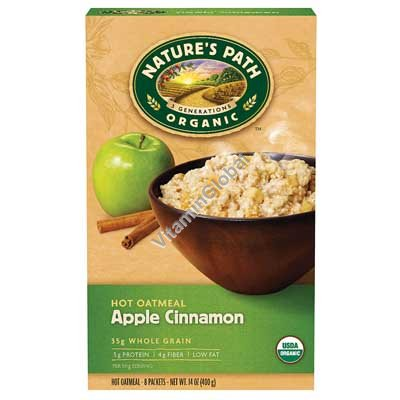 Organic Hot Oatmeal, Apple Cinnamon (8 Packets) - Nature\'s Path