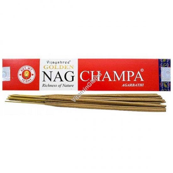 Hand-Rolled Incense Sticks Golden Nag Champa 15g - Vijayshree Fragrance