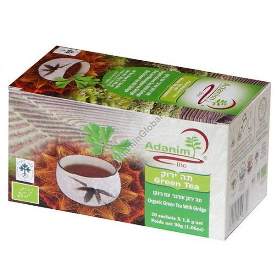 Organic Green tea with Ginkgo 20 tea bags - Adanim