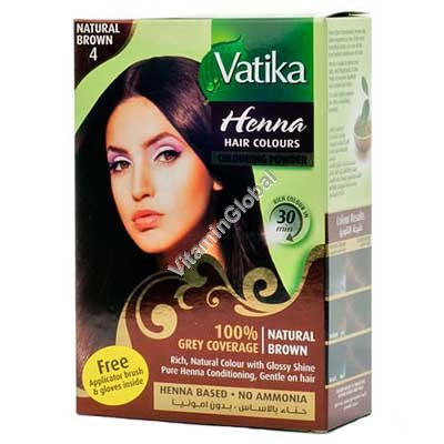 Henna Hair Colours Natural Brown 60g (6 sachets of 10g each) - Vatika