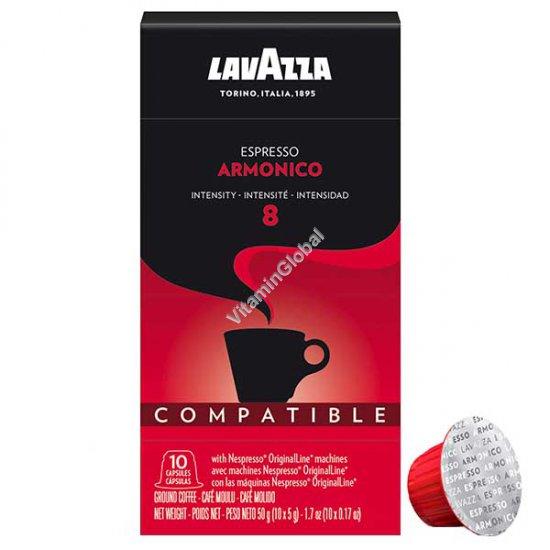 Espresso Armonico Coffee Capsules, Intensity 8, 10 Count, 50g - Lavazza