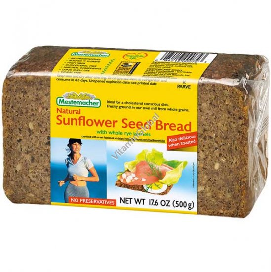 Natural Sunflower Seed Bread with Whole Rye Kernels 500g (17.6 oz.) - Mestemacher