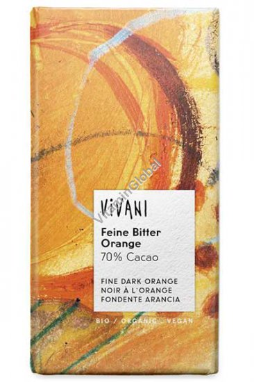 Organic Dark Chocolate with Orange 70% Cocoa 100g - Vivani