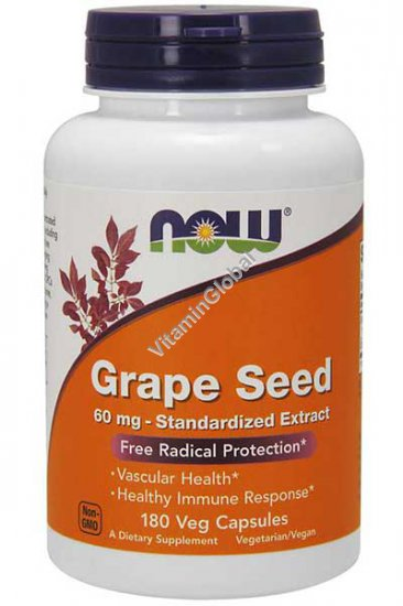 Grape Seed Extract 60 mg 180 capsules - NOW Foods