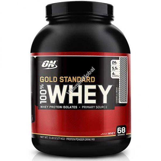 Gold Standard - 100% Whey Protein Cookies and Cream 2.27kg - Optimum Nutrition