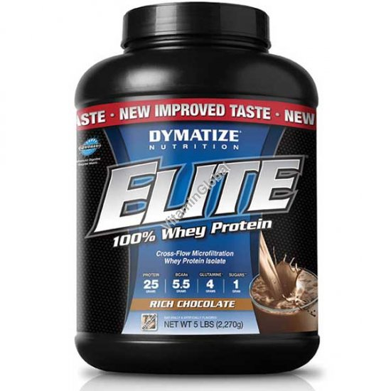 Elite Whey Protein Rich Chocolate 5 LBS (2270g) - Dymatize Nutrition