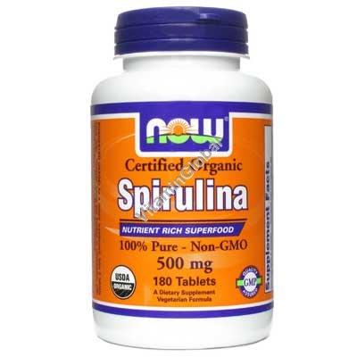 Organic Spirulina 500 mg 180 Tabs - NOW Foods