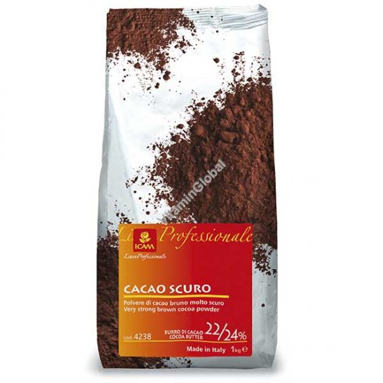 Alkalized Very Dark Brown Cocoa Powder with 22/24% Cocoa Butter 1000g - ICAM