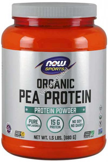 Pea Protein, Natural, Unflavored 907g (2 LBS) - Now Foods