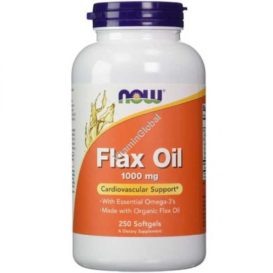 Flax Oil 1000 mg Cardiovascular Support 250 Softgels - NOW Foods
