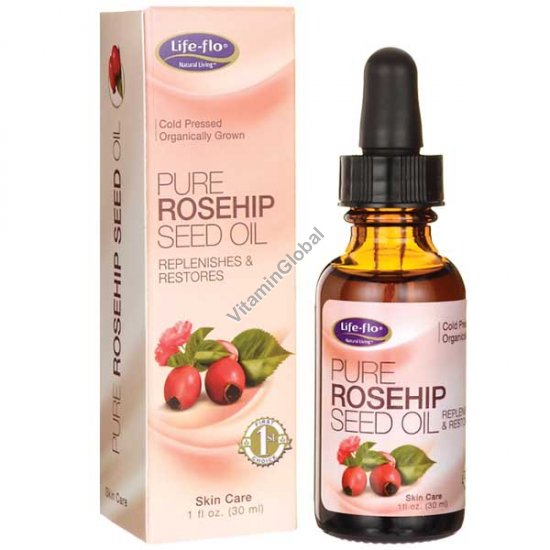 Cold Pressed Organic Pure Rosehip Seed Oil 30ml (1 fl oz) - Life-Flo