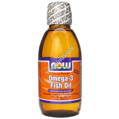 Liquid Omega-3 Fish Oil Lemon Flavored 200 ml - Now Foods