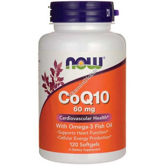CoQ10 60 mg with Omega-3 Fish Oil 120 softgels - NOW Foods