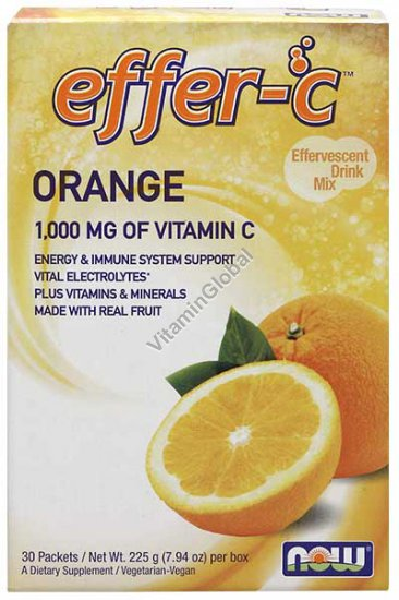 Effer-C Orange 1000mg of Vitamin C 225g (30 Packets) - Now Foods