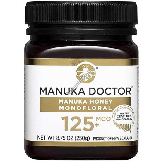 Manuka Honey Monofloral, MGO 125+, 8.75 oz (250 g) - Manuka Doctor