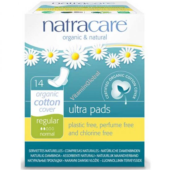 Organic & Natural Ultra Pads with Wings, Regular 14 Count - Natracare