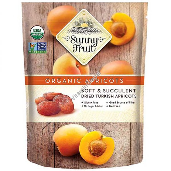Sun-Dried Organic Apricots 8.8 oz (250g) (5 portion packs inside) - Sunny Fruit