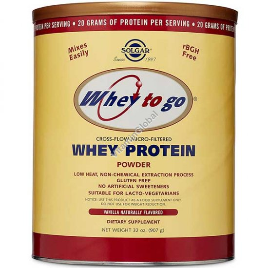 Whey to go - Micro-Filtered Whey Protein Powder Vanilla 907g (32 oz.) - Solgar