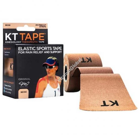 Kinesiology Elastic Sports Tape for Pain Relief and Support (Beige) 20 Strips - KT Tape