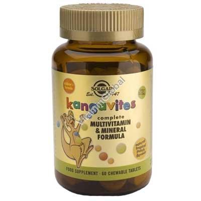 Kangavites Multivitamin & Mineral Children\'s Formula Tropical Punch Flavor 60 Chewable Tablets - Solgar