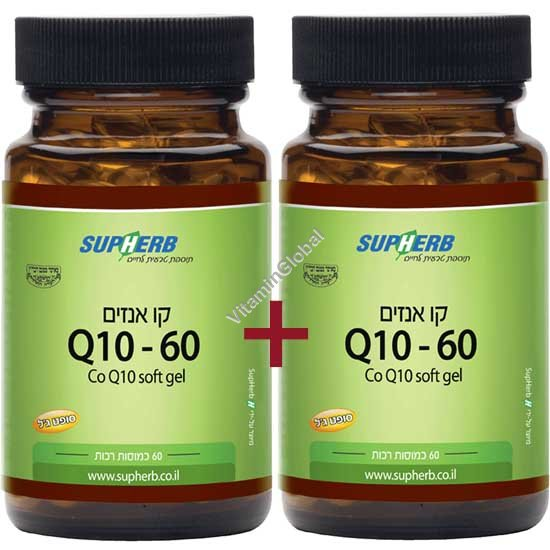 Kosher L\'Mehadrin Co Q10 60 mg 120 (60+60) softgels - SupHerb