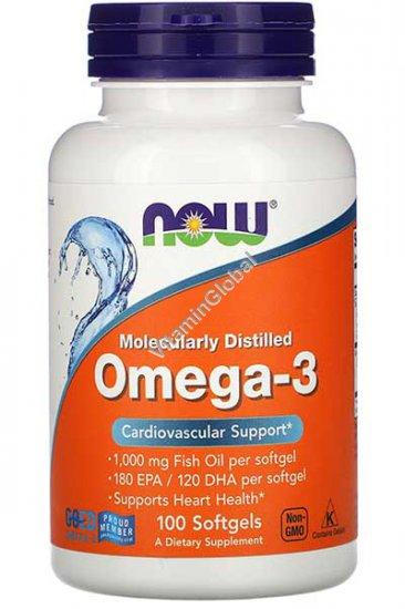 Omega 3 1000mg Fish Oil 100 Softgels - Now Foods