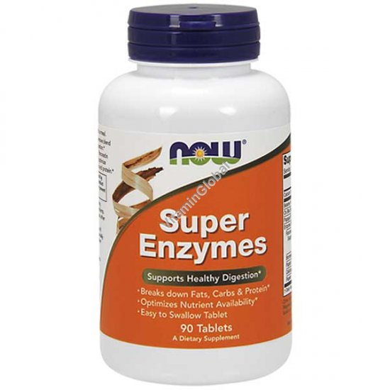 Super Enzymes Supports Healthy Digestion 90 tablets - NOW Foods