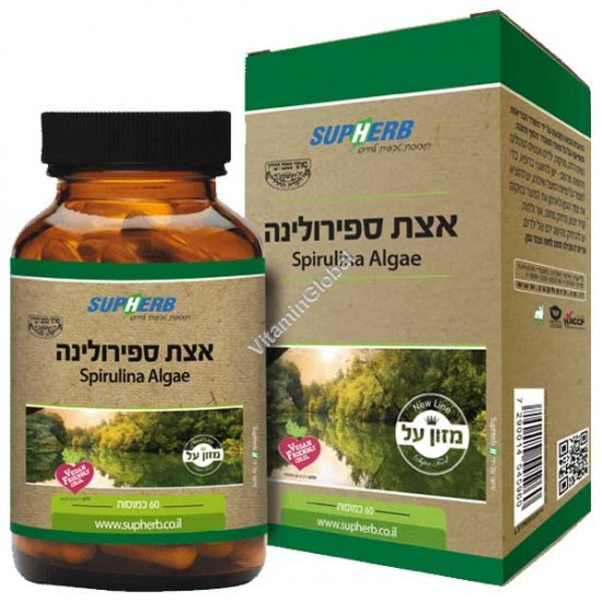 Kosher L\'Mehadrin Spirulina Algae 600 mg 60 capsules - SupHerb