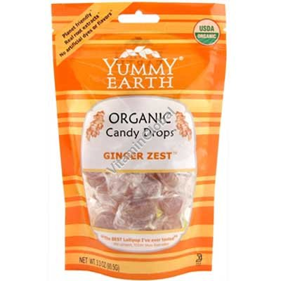 Organic Ginger Zest Candy Drops 93.5g - Yummy Earth