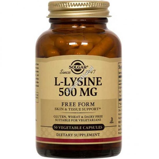 L-Lysine 500mg 100 vegetable capsules - Solgar