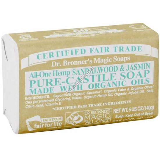 Hemp Sandalwood Jasmine Pure Castile Soap 140g (5 US OZ) - Dr. Bronner
