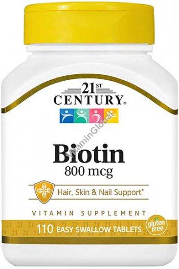 Biotin 800 mcg 110 Easy Swallow Tablets - 21st Century
