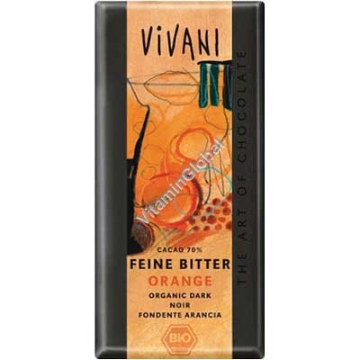 Organic Dark Orange Chocolate 70% Cocoa 100g - Vivani